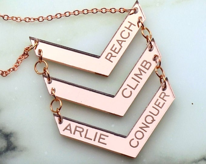 CUSTOM CHEVRON NECKLACE - Laser Cut Acrylic - Rose Gold Mirrored Nameplate