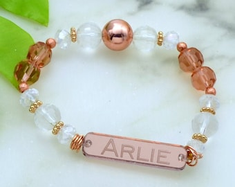 CUSTOM NAME BRACELET- Laser Cut Acrylic - Rose Gold Mirrored Nameplate