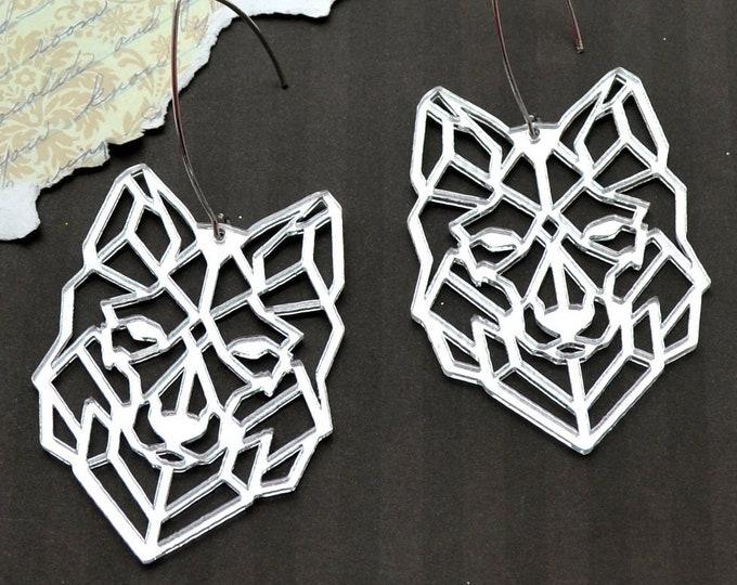 GEOMETRIC WOLVES - Laser Cut Acrylic Earrings - Silver Mirror