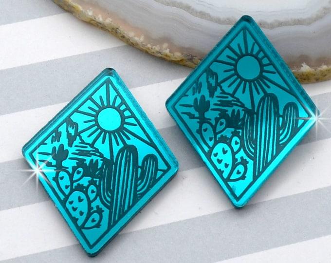 DESERT LOVE - Cactus Sunset Diamond Cabochons - Teal Mirror Laser Cut Acrylic Cabs - Set of 2 Flatbacks