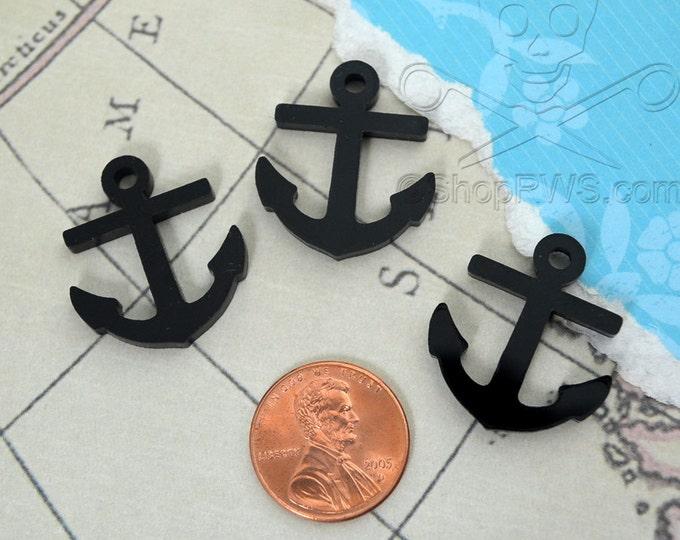 3 ANCHOR CABOCHONS- In BLACK Laser Cut Acrylic