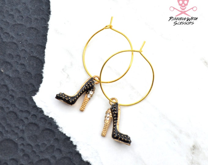HIGH HEEL HOOPS - Gold and Black Stiletto Rhinestone Hoop Earrings