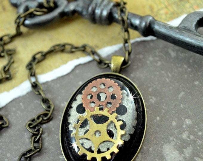 TIMEPIECE -30 x 40 mm Black Glitter RESIN Steampunk Necklace
