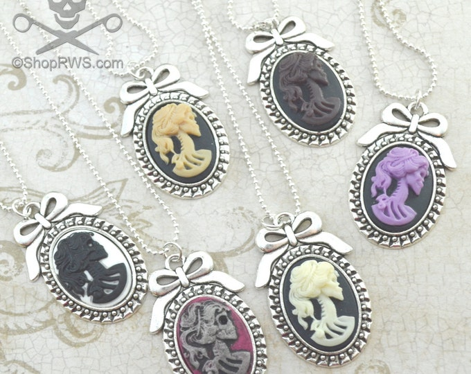 LOLITA CAMEO - Your color choice18 x 25 Silver Frame Cameo lady death Necklace