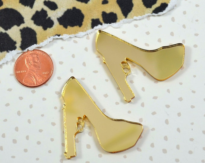 GOLD TRIGGER HEELS - 2 Pieces - Cabs In Gold Mirror Laser Cut Acrylic