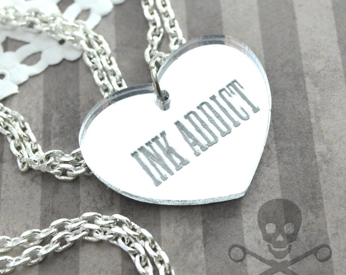 INK ADDICT - Silver- Laser Cut Acrylic Charm- Engraved Necklace