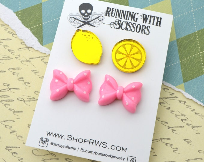 SWEET AND SOUR - Stud Earring Set - 2 Pairs - Laser Cut Acrylic Posts