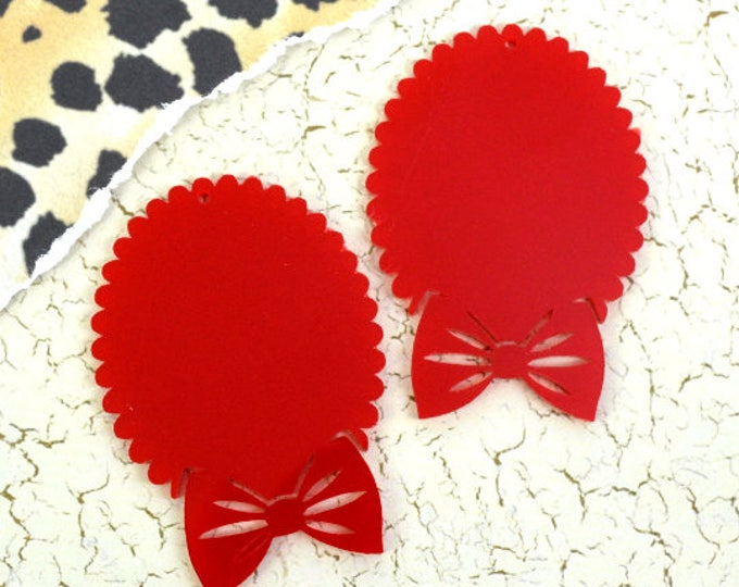 BRIGHT RED BOW Cameos - 30x40 mm Frame Settings - Laser Cut Acrylic