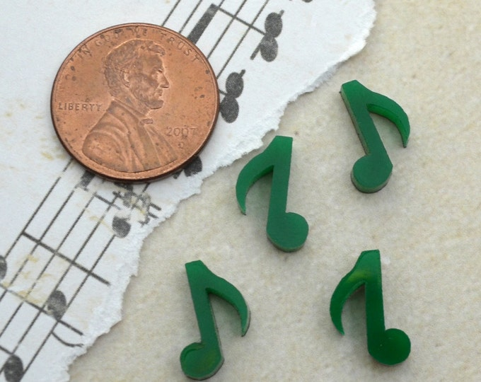 MUSIC NOTES- 4 Tiny CABS- Forrest Green Laser Cut Acrylic