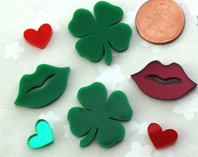 IRISH KISSES - 7 Piece Mixed 4 Leaf Clover Cabochon Lot in Laser Cut Acrylic