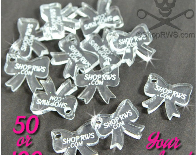 CUSTOM JEWELRY TAGS - Clear Bows- Personalized - Qty. 50, 100, or 250 - With or Without Holes