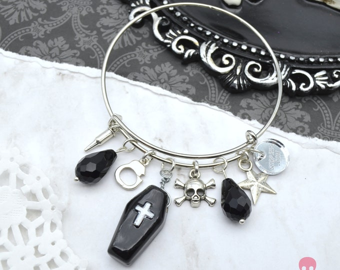 Goth Glam - Couture Charm Cuff Bracelet with Charms and Crystals