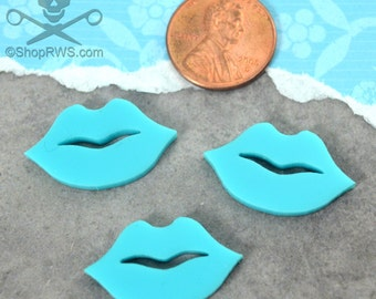TURQUOISE LIP CABS - 3 Pieces - In Laser Cut Acrylic