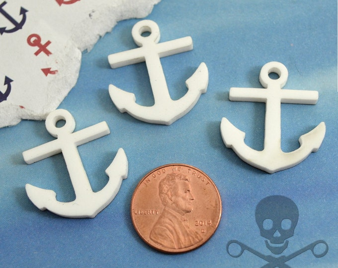 3 ANCHOR CABOCHONS- In Snow White Laser Cut Acrylic