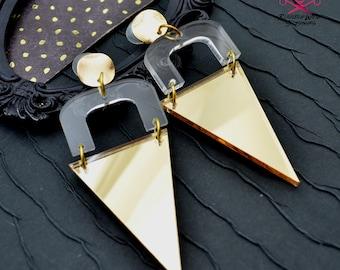 Gold Mirror Pendant Dangles - Laser Cut Acrylic Earrings