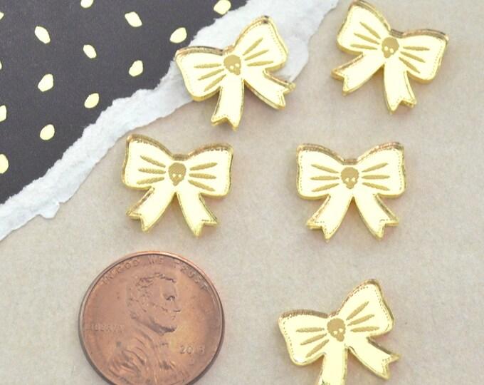 MINI GOLD SKULL Bow - Gold Mirror Cabochons - flat back cabs- Laser Cut Acrylic