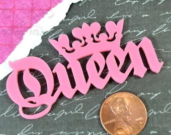 QUEEN CABOCHON- In Bubble Gum PINK Laser Cut Acrylic