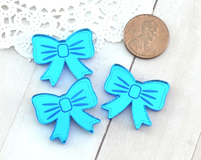 BLUE MIRROR BOWS - Cabochons - Set of 3 in Laser Cut Acrylic