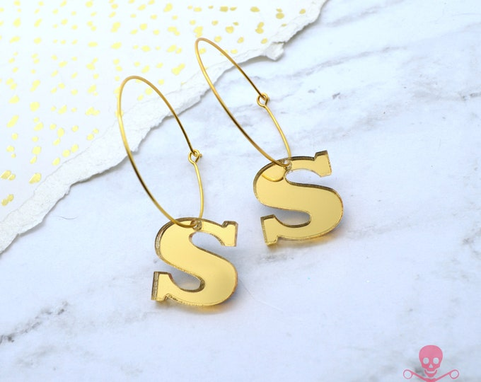 Gold Initial Earrings - Laser Cut Acrylic Hoops - You Choose Your Initial