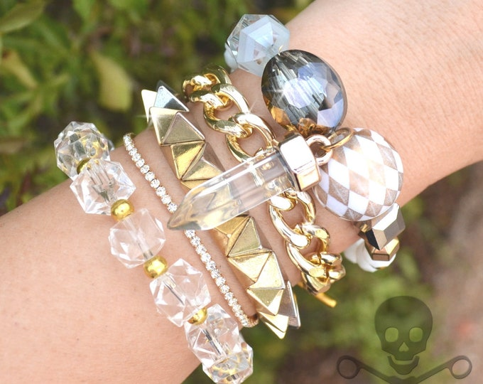 Spikes and Sparkle Stack - 5 Bracelet Set