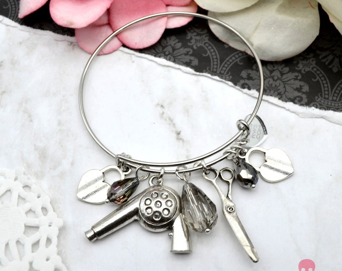 Sparkling Stylist - Couture Hair Stylist Charm Cuff Bracelet with Charms and Crystals