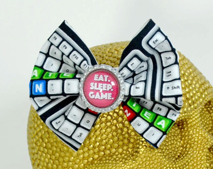 EAT. SLEEP. GAME. - Round Glass Dome cabochon on keyboard patterned fabric Hair Bow on Alligator Clip