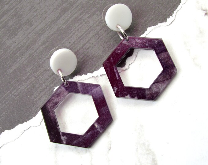 Amethyst Marble Hexagon Dangles - Laser Cut Acrylic Post Dangle - Geometric Glam Collection