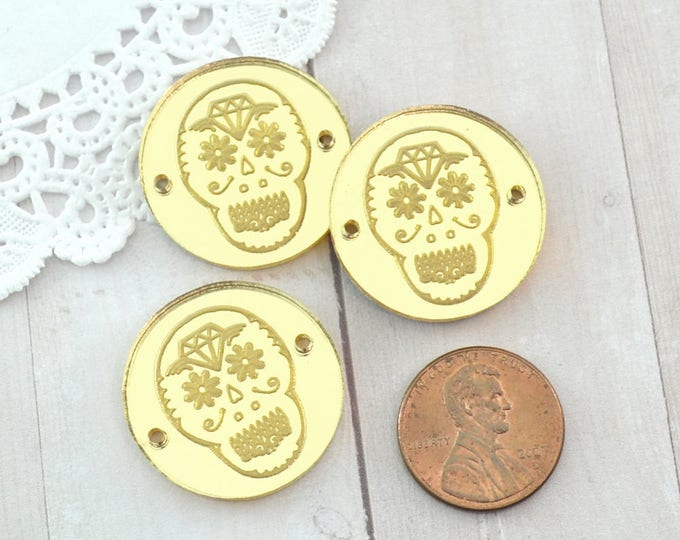 SUGAR SKULL CHARMS- Circle Disc Charm - Shiny Gold Mirror Laser Cut Acrylic