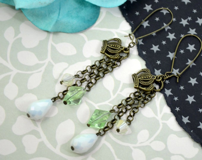 CROWNS AND CRYSTALS - Royal Crown and Colored beads Bronze Earrings