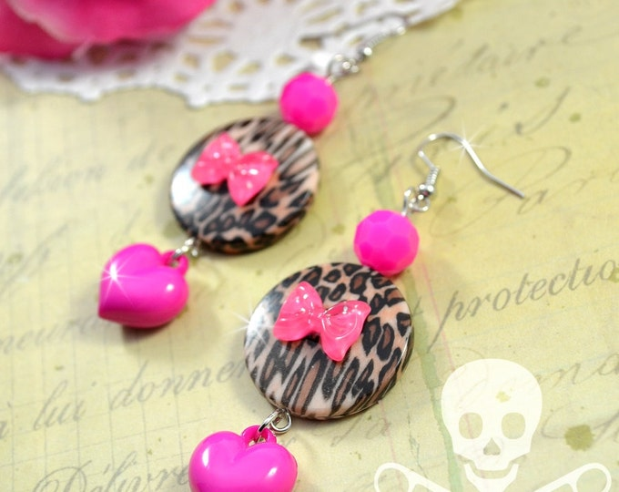 LADY LEOPARD - Cute Girly Animal Print, Bows, and Hearts - Pink Charm Earrings