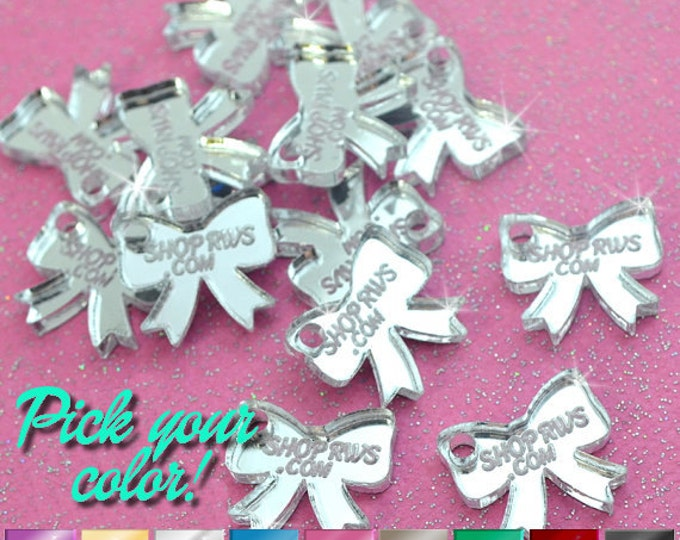 CUSTOM JEWELRY TAGS - Mirror Bows- Personalized - Qty. 50, 100, or 250 - With or Without Holes