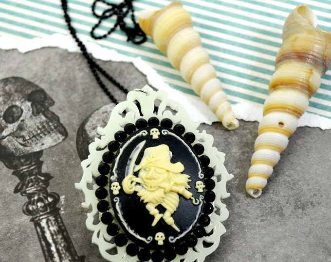 GLOW in the DARK PIRATE Pendant - Dancing Pirate and black Crystals Cameo Jewel Pendant Necklace