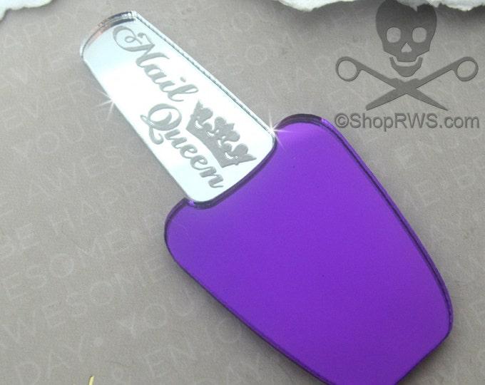 XL PURPLE mirror and SILVER Mirror Polish Cabochon - Laser Cut Acrylic - Nail Queen