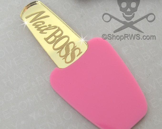 XL Pink and GOLD Mirror Polish Cabochon - Laser Cut Acrylic - Bubblegum - Nail Boss