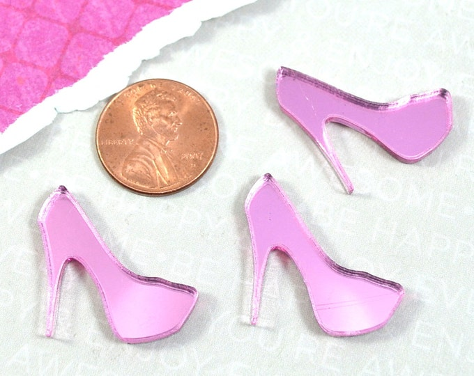 Pink Mirror Mini Heel Cabochons - 3 Pieces - Laser Cut Acrylic