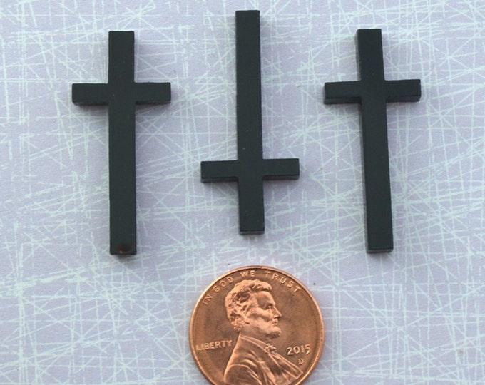 BLACK CROSS CABOCHONS - 3 Pieces - In Black Laser Cut Acrylic