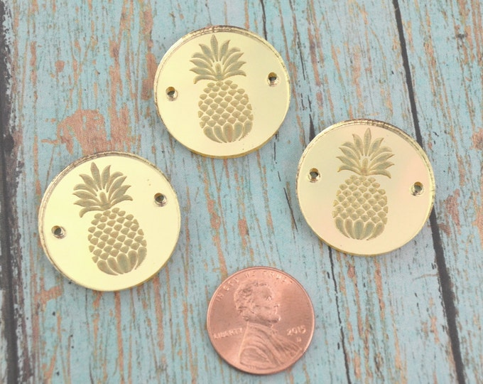 GOLD PINEAPPLE CHARMS- Circle Disc Charm-  Shiny Gold Mirror Laser Cut Acrylic