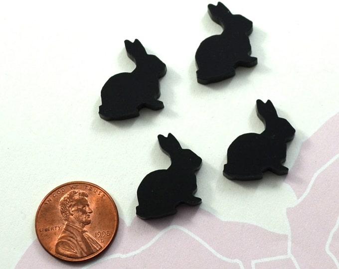 BLACK BUNNIES - Laser Cut Acrylic Cabochons - Set of 4