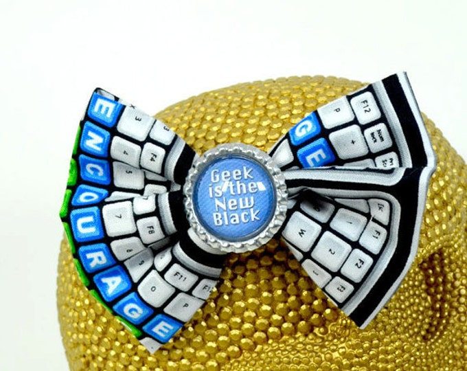 GEEK is the NEW BLACK - Round Glass Dome cabochon on keyboard patterned fabric Hair Bow on Alligator Clip
