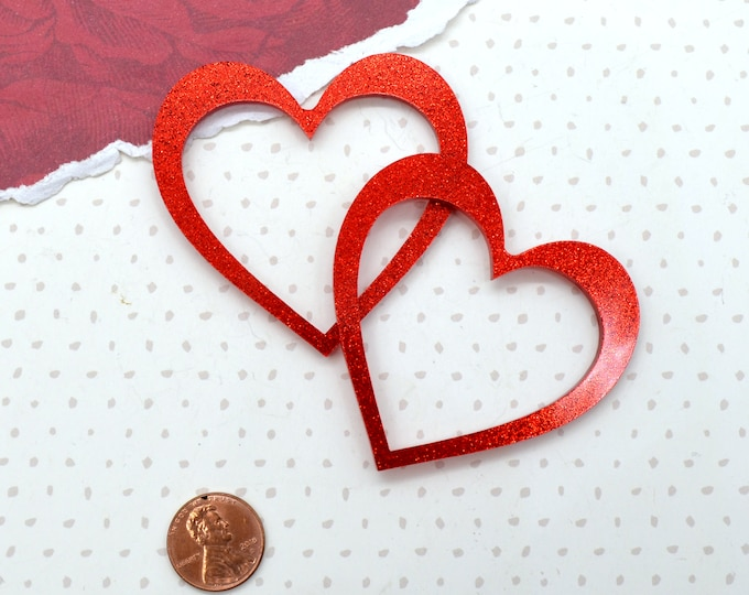 Red Glitter Open Heart - Laser Cut Acrylic Cabs- set of 2 pieces.