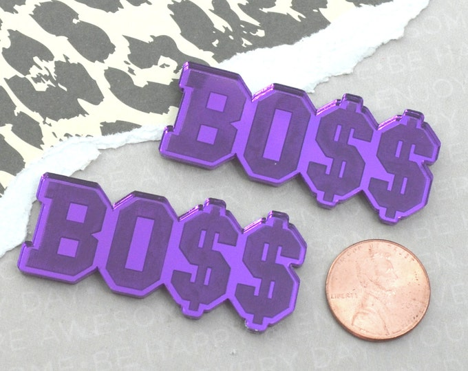 BLING BOSS CABOCHON - Purple Mirrored Laser Cut Acrylic Cab