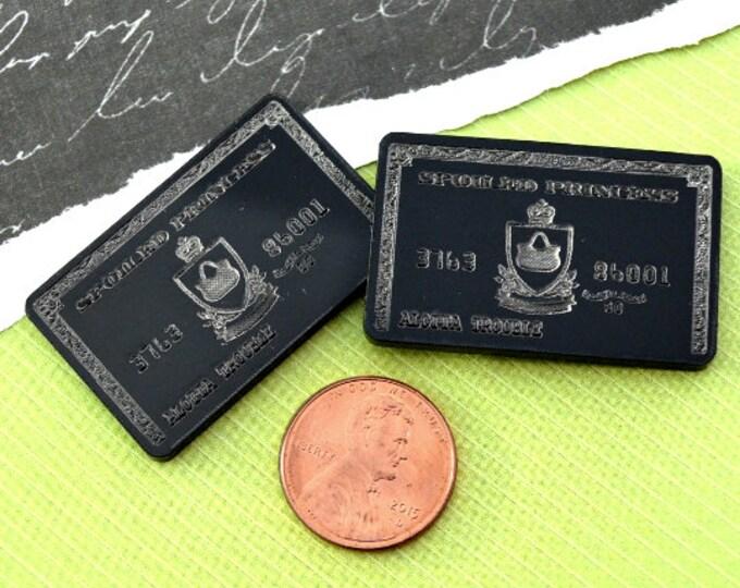 2 BLACK CREDIT CARDS - Fancy Fun Cabochons - Laser Cut Acrylic