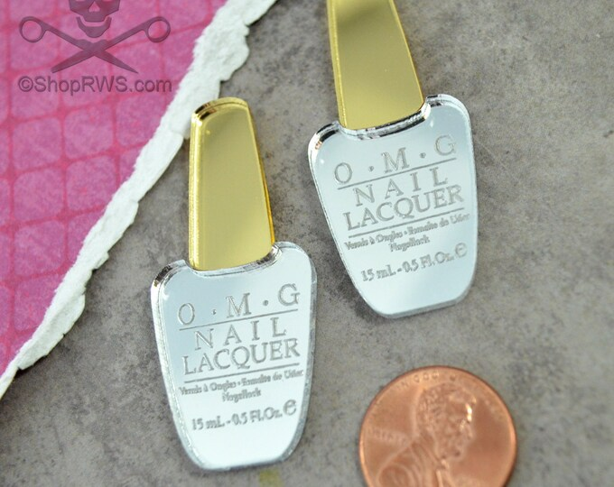 OMG SILVER and GOLD Nail Polish Cabs - Set of 2 Laser Cut Acrylic Cabochons