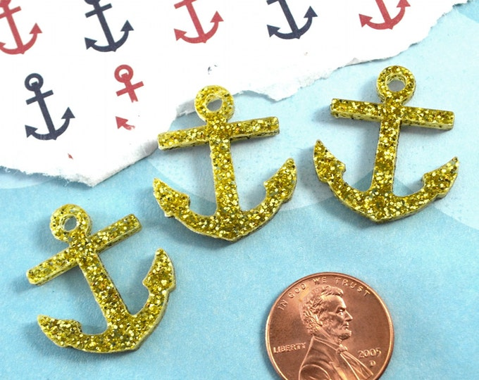 GOLD GLITTER ANCHORS - 3 Pieces - In Laser Cut Acrylic