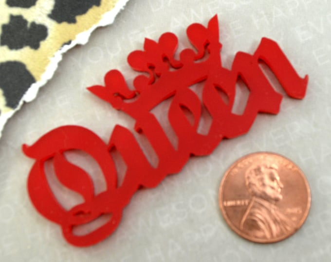QUEEN CABOCHON- In RED Glossy Laser Cut Acrylic