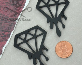 BLEEDING DIAMOND CABS - Set of 2 Glossy Black Laser Cut Acrylic Cabochons