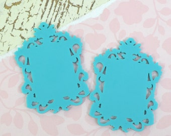 TURQUOISE FILIGREE CAMEOS - Ornate Rectangle Settings - Laser Cut Acrylic