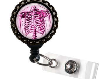 Anatomical Ribcage - Pink and Black Retractable Badge Reel ID Holder
