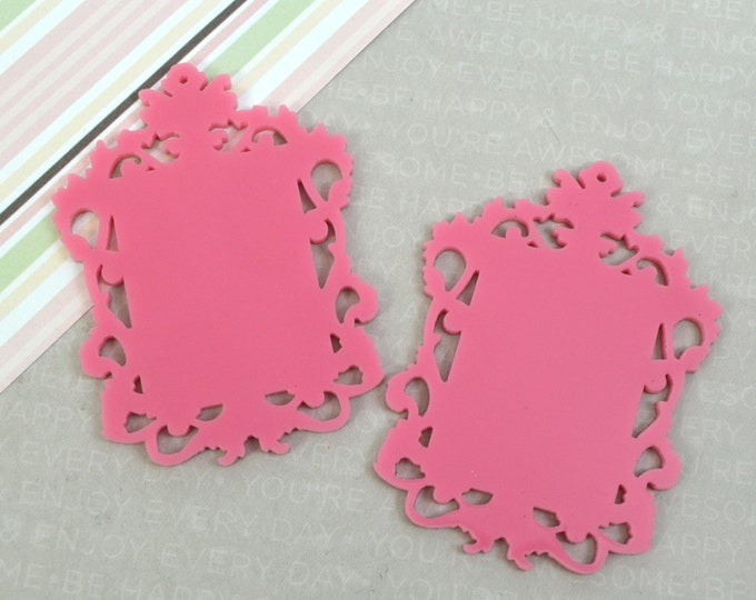 BUBBLEGUM FILIGREE CAMEOS - Ornate Rectangle Settings - Pink Laser Cut Acrylic