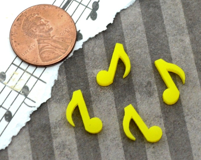 MUSIC NOTES- 4 Tiny CABS- Yellow Laser Cut Acrylic